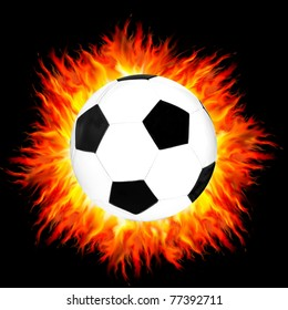 foot ball on a fire background