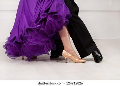 foot ballroom dancers on the dance floor