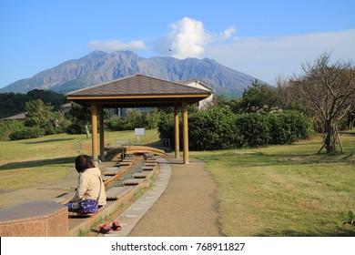 Foot bath in Sakurajima, Kagoshima, Japan.