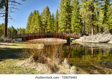 A foot bridge crosses Spring Creek, at Collier Memorial State Park off of Highway 97 near Chiloquin Oregon.  It's crystal-clear, ice-cold waters refresh this high desert landscape.