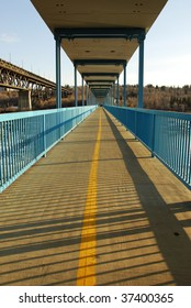 Foot bridge over the north saskatchewan river, edmonton, alberta, canada