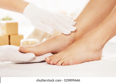 Foot care treatment in spa.