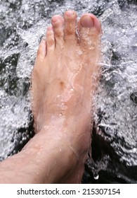 foot in cold water flow