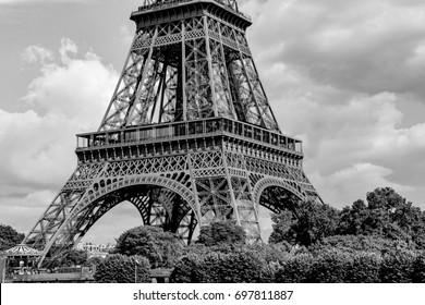 The Foot of the Eiffel Tower in Black and White