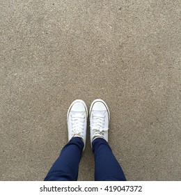 Foot and legs seen from above. Selfie great for any use.