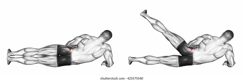 Foot moves to the side, lying on its side. 3D illustration