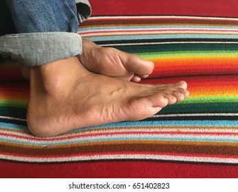 Foot on fabric multicolor.