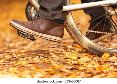 foot on pedal of bicycle in park, active lifestyle.