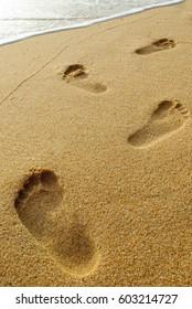 foot print on the beach