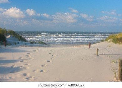 Foot print on the beach. Northsea Ameland Dutch.