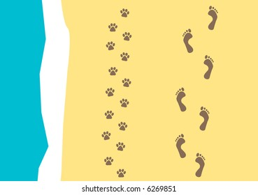 foot prints of man and his dog on a beach illustration
