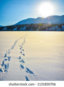Foot prints in the snow across a frozen lake with sun flare and snow covered mountains in the background. A winter mountain landscape in British Columbia, Canada