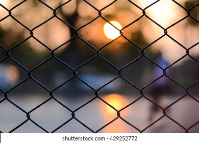 Foot sall cage in chiang mai thailand , Sunset background