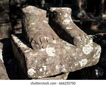 Foot Sculpture. Siem Reap. Cambodia.