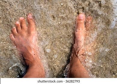 Foot in sea water