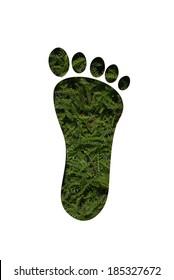 foot shape in grass