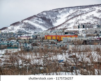 At the foot of the snow-covered hill with overgrown trees there are multi-storey houses in the winter on a sunny day in Petropavlovsk-Kamchatsky, Russia