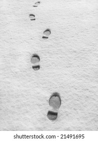Foot steps in the fresh snow