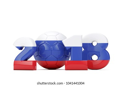 football 2018 concept. Russian flag text with soccer ball on a white background. 3D Rendering