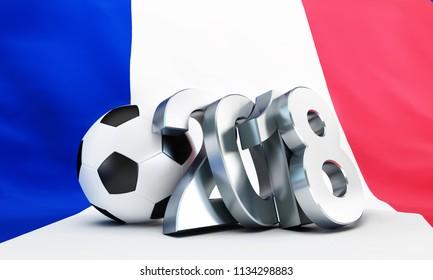 football 2018 flag of France 3D illustration, 3D rendering