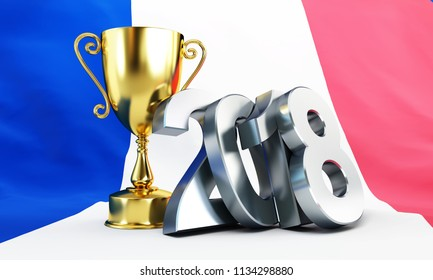 football 2018 flag of France gold cup winner 3D illustration, 3D rendering