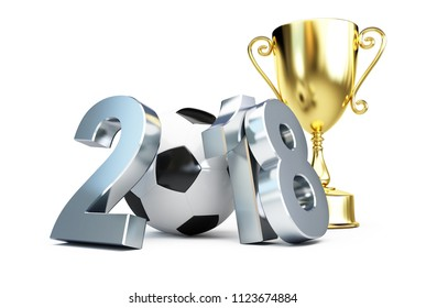 football 2018 gold cup on a white background 3D illustration, 3D rendering