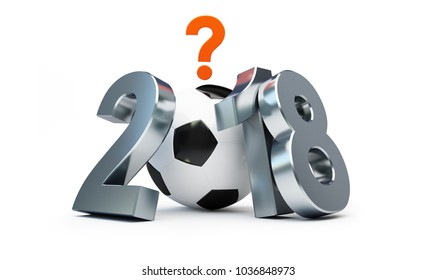 football 2018 in russia under the sign of the question   on a white background 3D illustration, 3D rendering