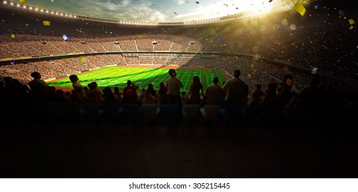 Football Arena Stadium Day championship win! Confetti and tinsel.