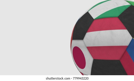 Football ball featuring different national teams accents flag of Austria. 3D rendering