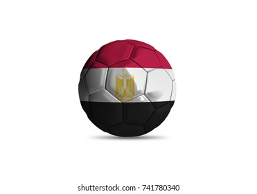 football ball with the national flag of Egypt white background
