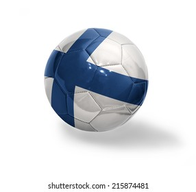 Football ball with the national flag of Finland on a white background