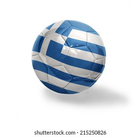 Football ball with the national flag of Greece on a white background
