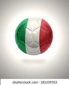 Football ball with the national flag of Italy on a gray background