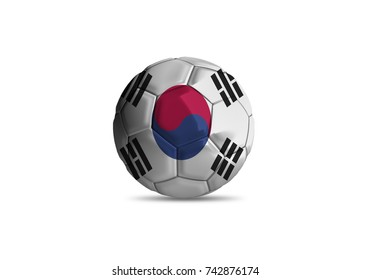 football ball with the national flag of Korea, South ball with white background