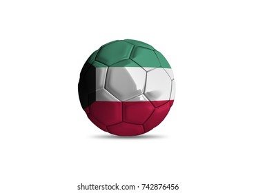 football ball with the national flag of Kuwait ball with white background