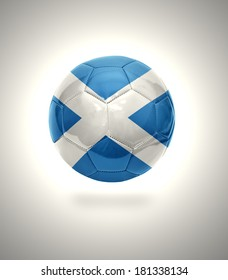 Football ball with the national flag of Scotland on a gray background