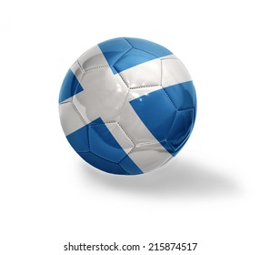 Football ball with the national flag of Scotland on a white background