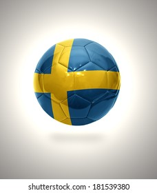 Football ball with the national flag of Sweden on a gray background