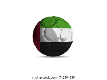 football ball with the national flag of United Arab Emirates ball with white background