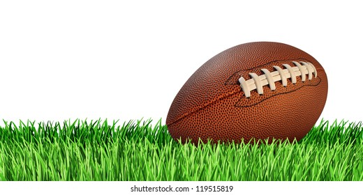 Football ball on a grass field isolated on a white background as a professional or college game sport for traditional American and Canadian play.