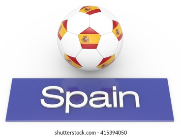 Football ball with Spain flag, Version 2, 3D-Rendering