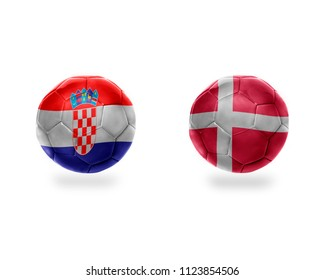 football balls with national flags of croatia and denmark.isolated on the white background.  3D illustration