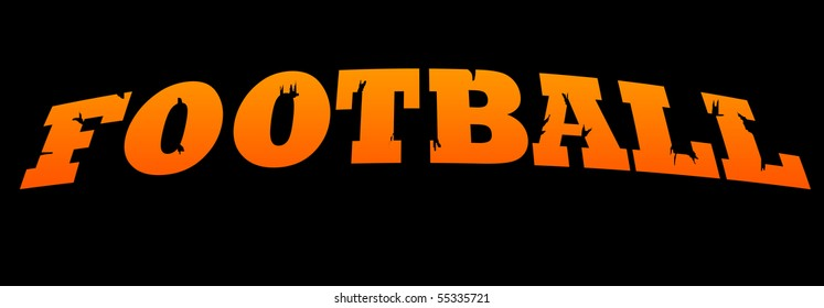 Football banner with cracked effect, isolated on black background.