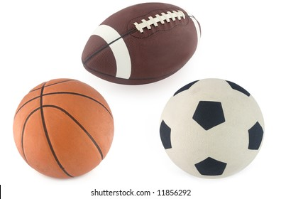 Football, basketball and rugby ball  isolated on white background