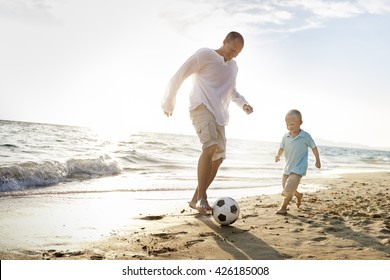 Football Beach Bonding Father Son Togetherness Concept