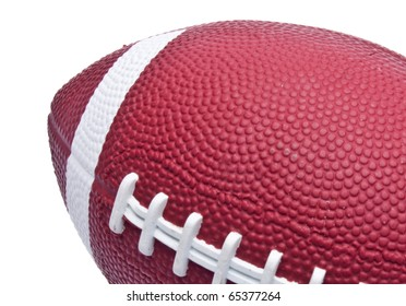 Football Border Close Up with White Copy Space.