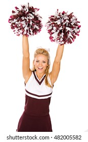 Football: Cheerleader With Poms In Air