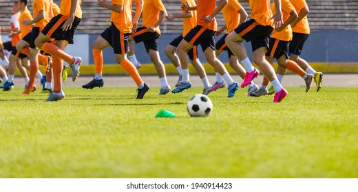 Football Club Training Session. Soccer Players on Daily Practice Unit. Athletes Running on Soccer Grass Field. Soccer Team Training Together Before League Competition Match