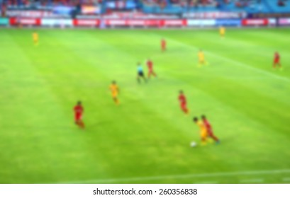 football competition of league division 2 in Thailand (blur effect photo)