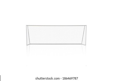 football concept showing empty football goal posts with goal net with reflection